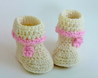 Crochet Pattern - Baby Booties - Boots - Baby Slippers - Easy - Girls - Boys - Preemie, Newborn, 3 Month, 6 Month. 1 Year # 175