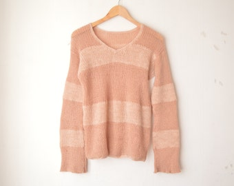 brown striped chunky knit v neck sweater 70s // M
