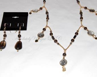 Smokey Quartz Gemstone Pendant Necklace and Earring Set