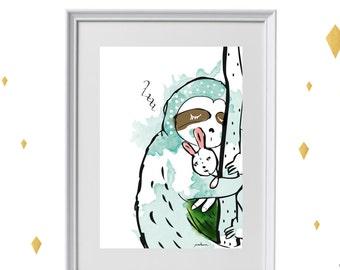 sloth print - Art-Illustration-Print  - A4