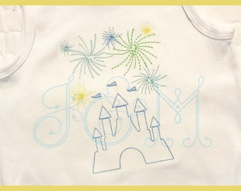Vintage Stitch Royal Castle with Fireworks Embroidery Design