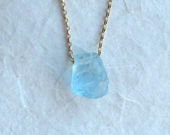 Rough Blue Topaz Sterling Silver or Gold Filled Necklace - Rough Blue Topaz Jewelry - Blue Topaz Necklace - November birthstone