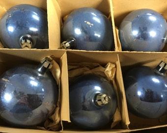 Vintage Fantasia Periwinkle Mercury Glass Ornaments