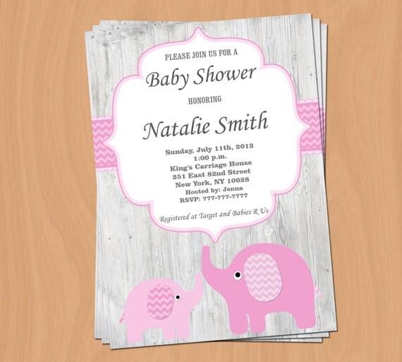 mädchen baby dusche einladung elefant baby shower einladung, Einladung