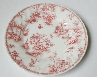 Churchill Toile Pink TWO salad plates