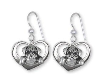 Pug Earrings Jewelry Sterling Silver Handmade Dog Earrings PG43-E