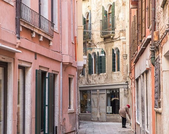Venice, Italy, Stucco Houses, Opening the Shop, Window Boxes, Venetian Charm, Italy Photography