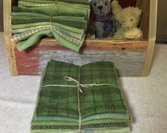 Field Green, Hand-Dyed Wool Fabric for Rug Hooking, Applique, Penny Rugs, Quilting, 8 - One Sixteenth Yard Pieces W259