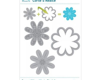 "3 Pc FLOWER DIE by MOMENTA Cut & Emboss  - 19778 pk size 3.5"" x 6.25"" Compatible with Sizzix Cuttlebug Spellbinders-  cc53"