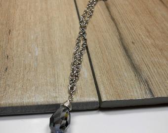 Crystal Valentinite Drop Collar Necklace, Crystal Valentinite, Crystal Jewelry, Collar Necklace, 14 in, women, Crystal Necklace