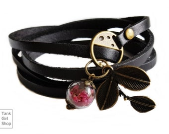 "Real Leather Wrapping bracelet  heather ""Let yourself be enchanted""105cmLength: 41"""