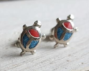 Mini ear plug turtle silver plated