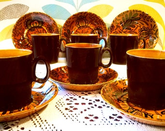 Staffordshire pottery tea set Vintage Ridgway Golden Amber tea coffee 6 person service English ironstone English pottery MCM 60s Mid Century