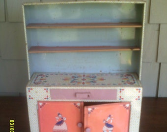 Vintage Childs Metal Hoosier Cabinet, By Ideal, Childu0027s Dutch Cabinet,  Ideal Toy Cabinet