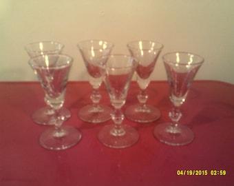 Six Vintage Pressed Crystal Stemmed Cordial Goblets, Clear Cordial Glasses, Stemmed Cordial, Crystal Cordial, Vintage Cordial