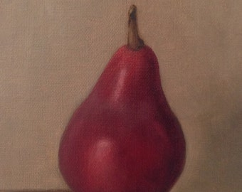 Original oil painting: Red pear 4x6""
