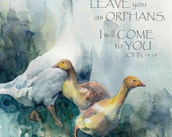 Mother Goose and Chicks bible verse scripture mounted watercolour print