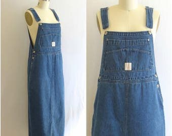 Denim Overall Dress/ 80s Jean Coverall Dress/ High Sierra Midi Jean Skirt/ Women's Size Small