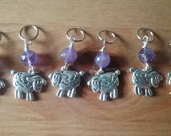 Baaaa,  Sheep Knitting Markers with purple accent beads