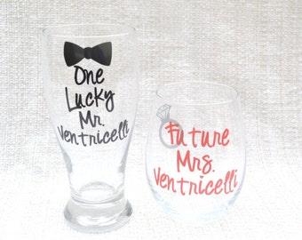 Personalized Engagement gift, bridal shower gift, engagement present, one lucky mr, future mrs, gift for bride to be, bridal wine glass
