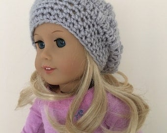"Grey doll hat, 18""doll hat, doll slouchy hat, doll hat, doll accessories, crochet doll hat, dolls clothes, cream, (will fit American Girl)"
