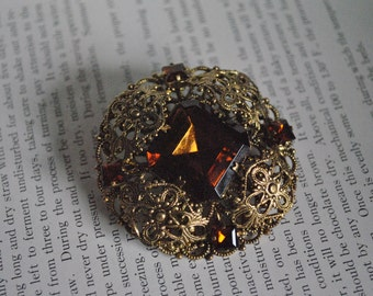 Vintage Brown Rhinestone Brooch - 1950s Czechslovakian Jewelry