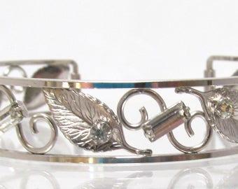 Delicate Floral Cuff Bracelet Scroll Design with Rhinestones Signed Krementz