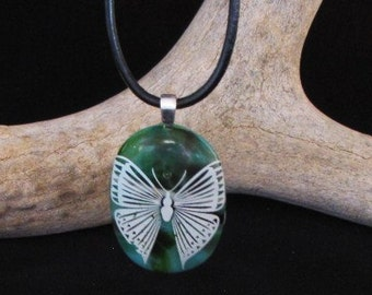 Fused Glass Pendant with White Butterfly Necklace