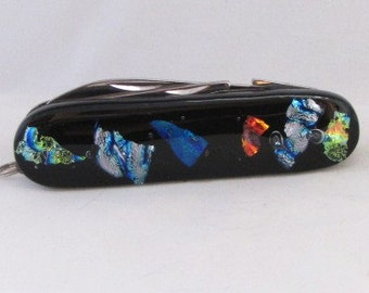 Fused Glass Pocket Knife, Dichoric Fused Glass