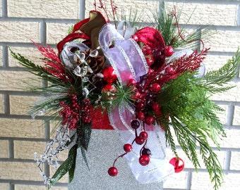 Christmas Gift Box Centerpiece, Christmas Arrangement, Large Christmas Centerpiece, Decorated Gift Box Centerpiece