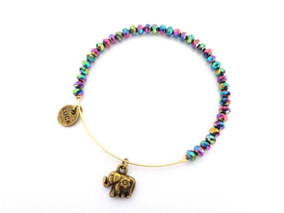 Namesta Sacred Elephant Charm Bead Bracelet, Gold and Purple Charm Bracelet, Yoga Jewelry, Purple Firepolished, Wisdom Luck, Yoga Bracelet