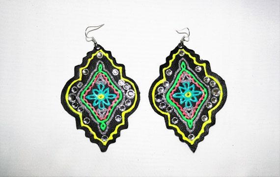 Prettiest earrings EVER - hand painted leather earrings - Black leather earrings - Neon paint - Rhinestone earrings