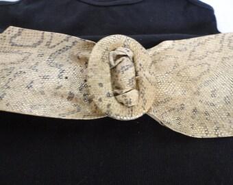 Metallic Leather Faux Snake Skin Belt