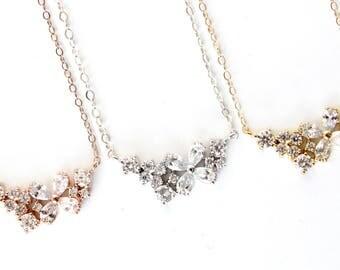 Flower Cluster Necklace / Cubic Zirconia Necklace / Dainty CZ Necklace / Cluster pendant / Delicate CZ Necklace
