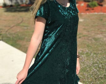 Large 90s Emerald Velvet Babydoll Dress