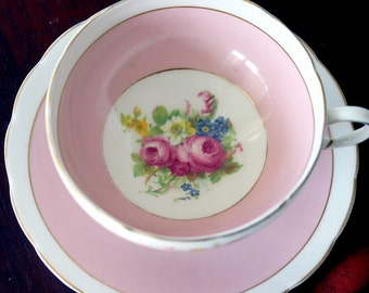 E.B. Foley Pink Teacup with Floral Spray