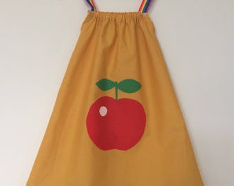 Apple sundress, girls sundress, rainbow dress