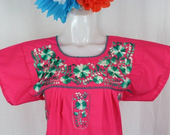 Mexican Embroidered Tunic-Embroidered by Hand-Hot Pink (Small) BOHO Hippie-Handmade-Beautiful-Valentines Day Gift-Fiesta Mexicana-Birthday-