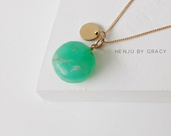 Green Chrysophrase Necklace / Chrysophrase Necklace with Stamp Disc / Bohemian Necklace / Gold Necklace / Green Briolette Necklace