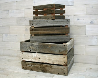 Barn Wood Milk Crate nesting set of 3   (tags: wood box barn wood crate barnwood reclaimed wood storage crate apple crate organization case)