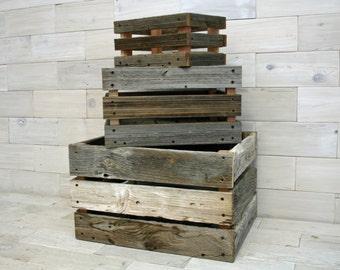 Barn Wood Milk Crate nesting set of 3