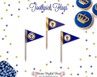 Royal Blue & Gold African American Little Prince | Toothpick Flags | Digital Instant Download DIY Printable