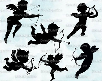 Cupid Silhouettes | Valentines Arrow of Love Angels | Clipart Digital Instant Download