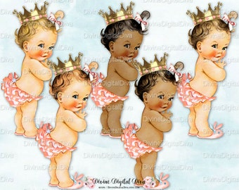 Princess Ruffle Pants 50's Pink Blush Peach | Vintage Baby Girl Gold Crown 3 Skin Tones | Clipart Instant Download