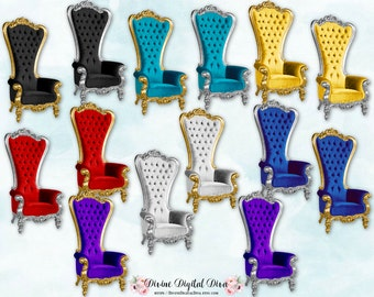 26 High Back Chair Royal Throne Velvet Images | 13 Colors Silver & Gold Royal Blue Purple Red Black Teal Pink | Clipart Instant Download