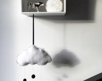Mini Cloud mobile/wall hanging//monochrome/black & white mix