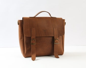 Leather messenger women, Brown leather bag, crossbody bag messenger, Leather messenger men, Satchel bag, Leather rucksack