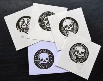 4 LUCKY DIP  Mini Skull Prints on Japanese Paper