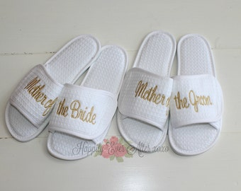 Wedding Slippers Custom Embroidery Mother of the Bride, Mother of the Groom, Bridesmaids