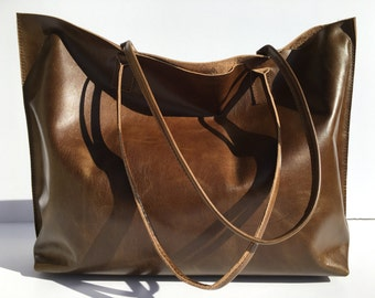 Large Olive Green W/ Slight Brown Hue Leather Tote